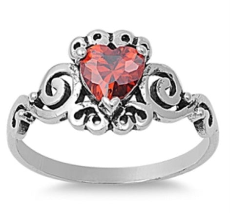 Red CZ Heart Ring