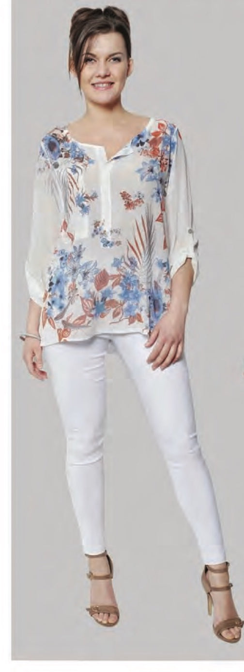 V-Neck Sparkle/Floral Blouse