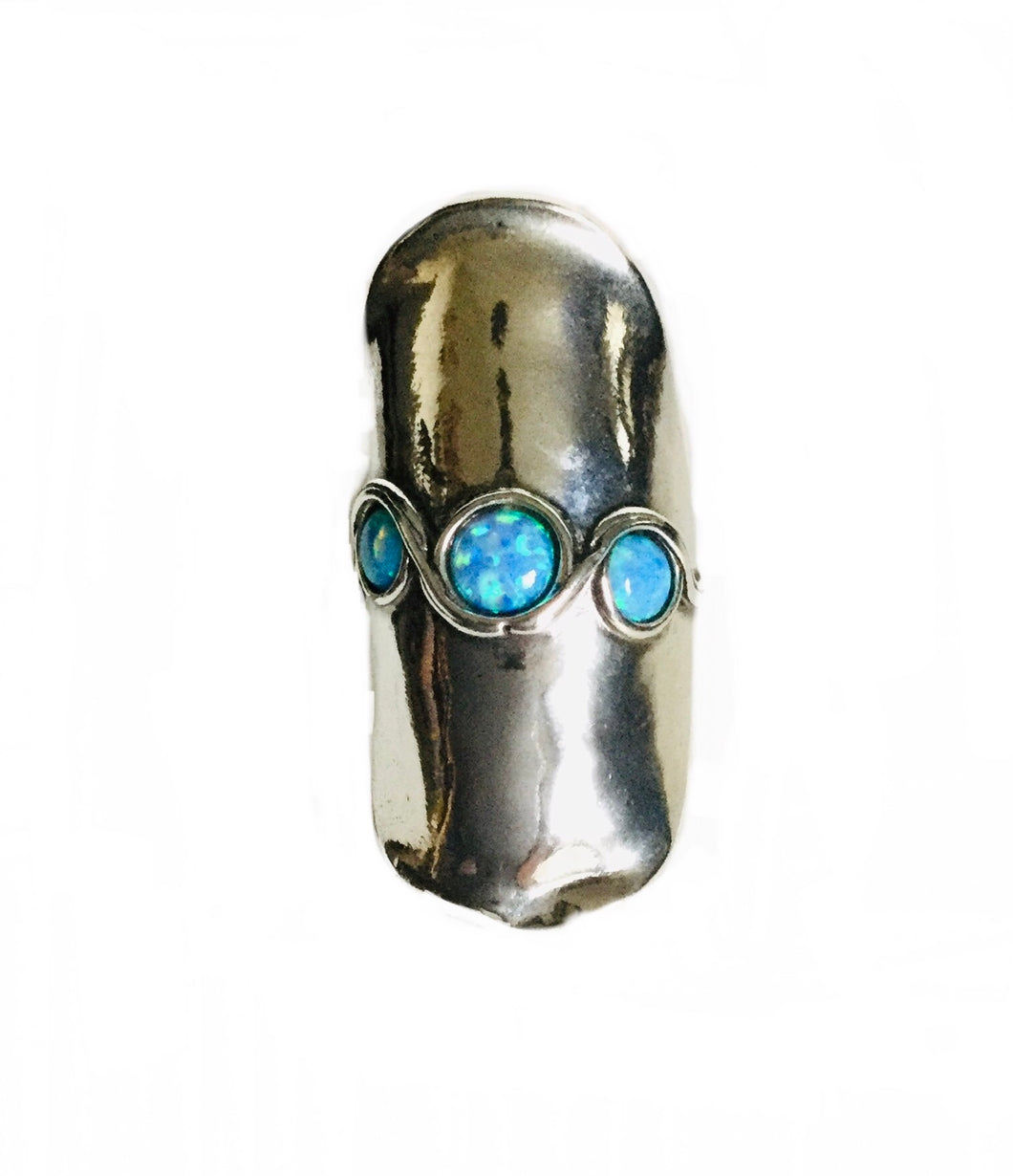 Sterling silver Lab Opal Shield ring