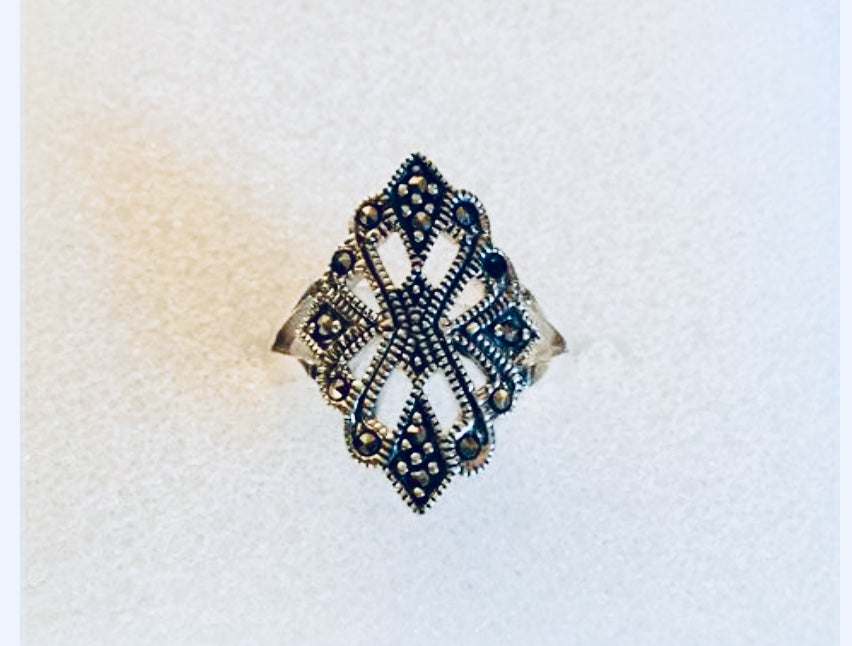 Vintage Marcasite Sterling Silver Ring