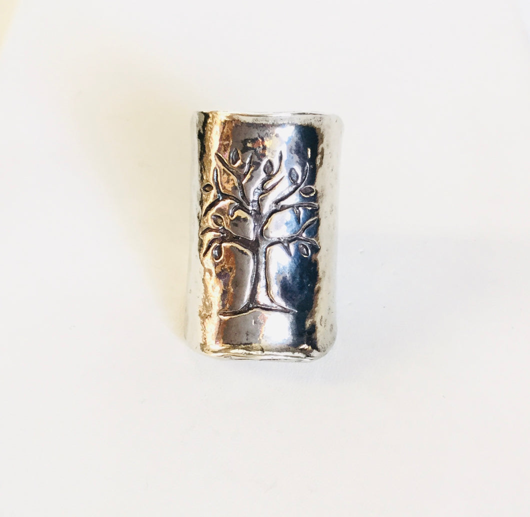 Sterling silver Embossed Tree of Life shield Ring