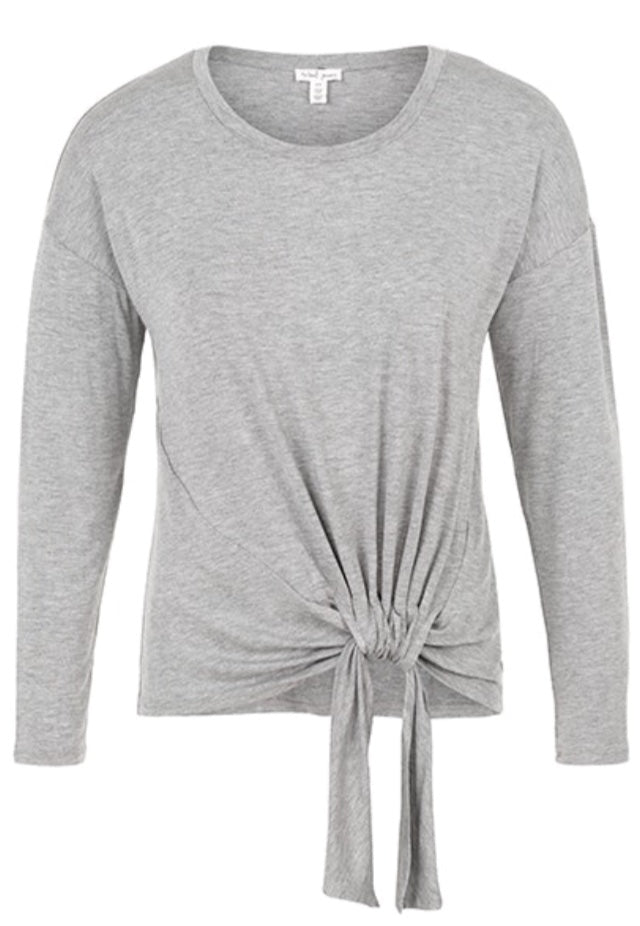 Mix Grey Long Sleeve Top/ Adjustable Knot