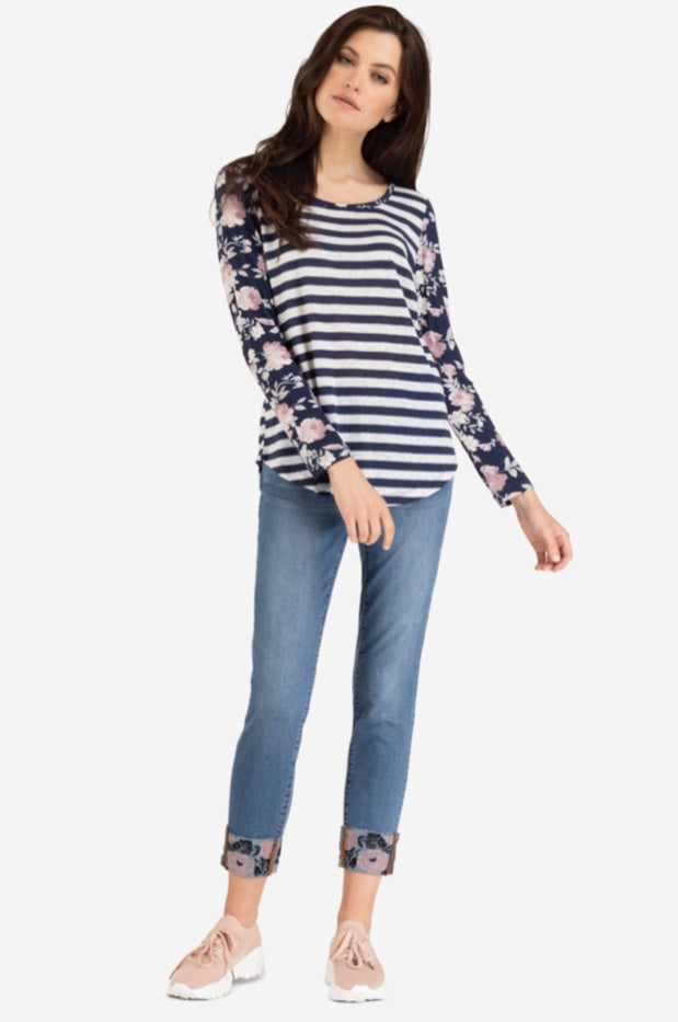 Long Sleeve Striped combo Floral Top