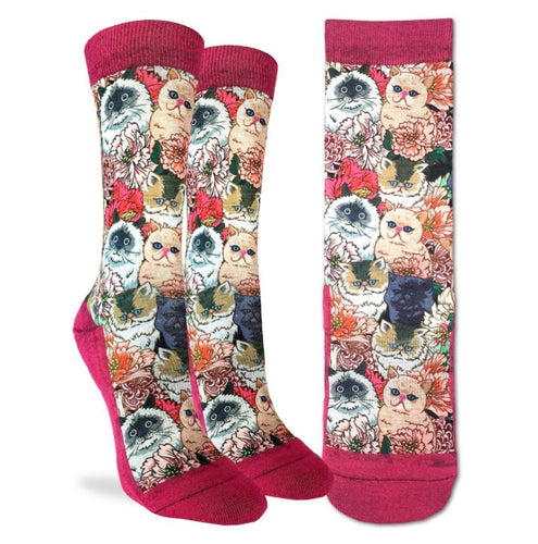 Women's Floral Cats Fun Socks Active Fit