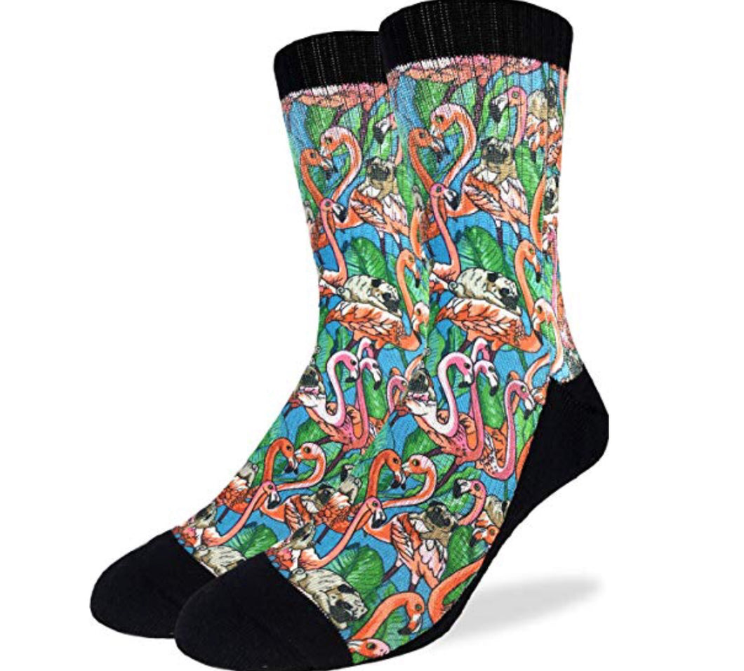 Men's Pug and Flamingo Graphic Active Fit Fun Sock