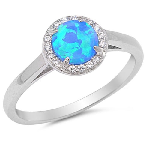 Round CZ Halo Blue Opal Ring