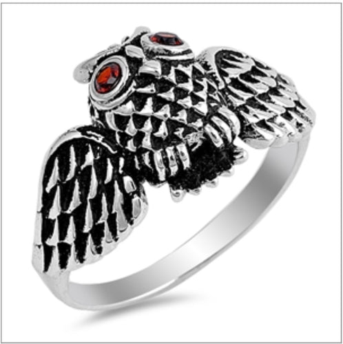 Owl with Cz Ruby eyes