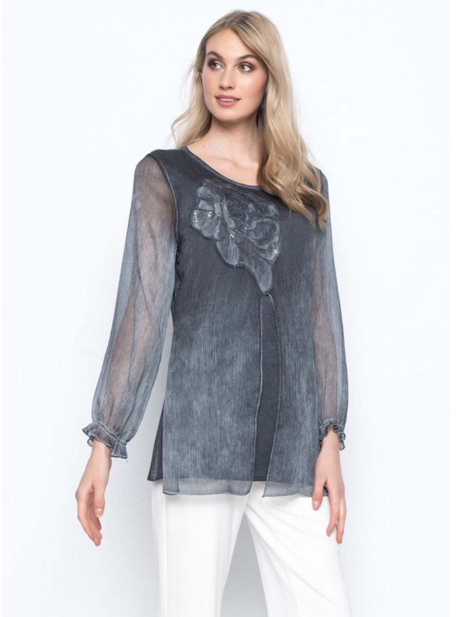 Chiffon Trimmed Top with Sequence Embellishment