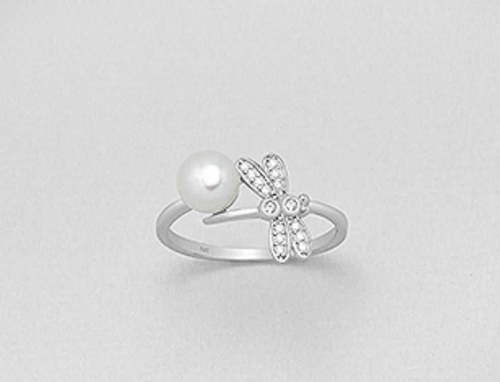Dragonfly Pearl Wrap Ring