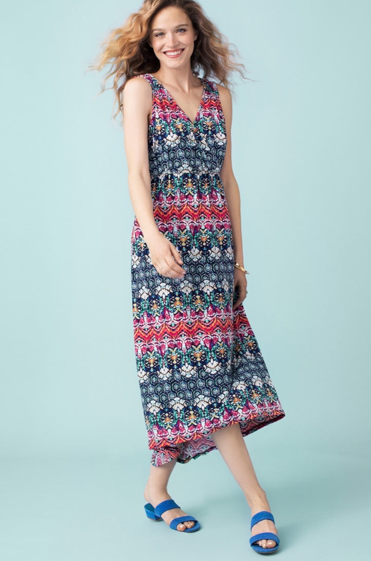 Maxi Umpire waist multi colour Dress