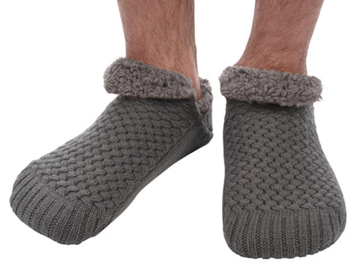 Men's Basket weave Sherpa lined Grey Slipper/Sock