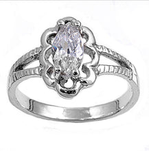 Oval cut Flower Detail Silver Ring Birth Stone