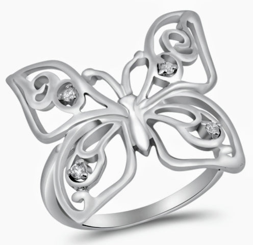 Sterling Silver Butterfly Ring / Cz Stones on wings