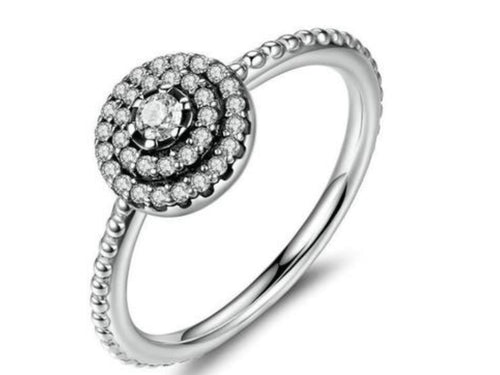 Cz Flower Silver Ring
