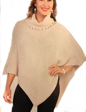 Cherishh Knit Turtle Neck Poncho with Pearl detail