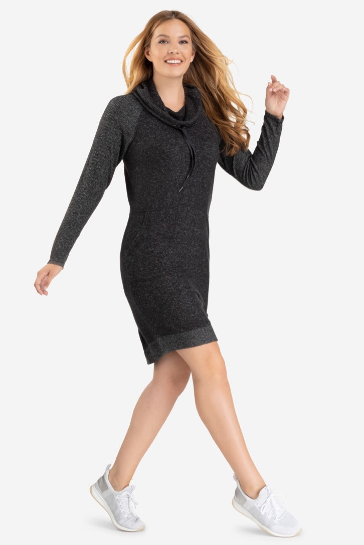Soft to touch cozy casual fun trendy charcoal dress with fabulous pockets and a great draw string detail around the cowl neck. Love this look with a pair of sneakers.