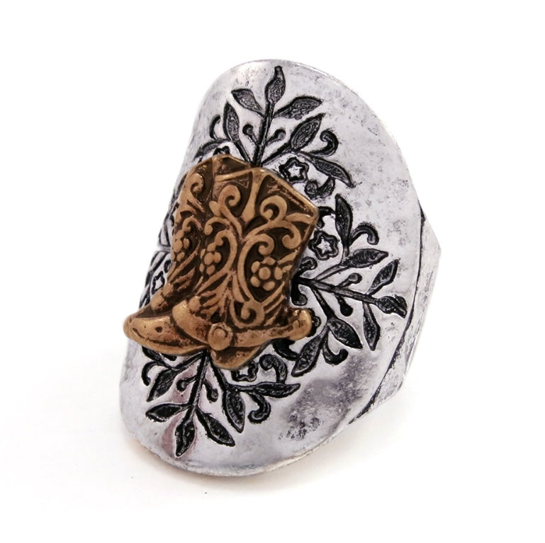 Two Tone Shield Cowboy Boot Adjustable Ring