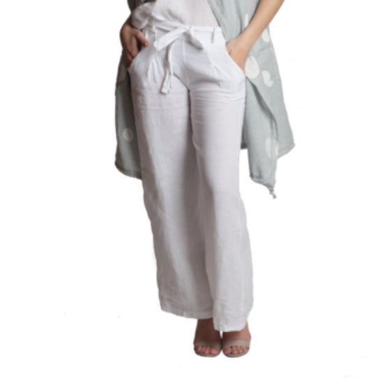 White Wide Linen pant with Belt