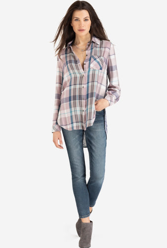 Long Sleeve plaid shirt/ Printed Back Combo