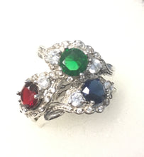 CZ Saphire, Emerald, and Ruby with clear stone set