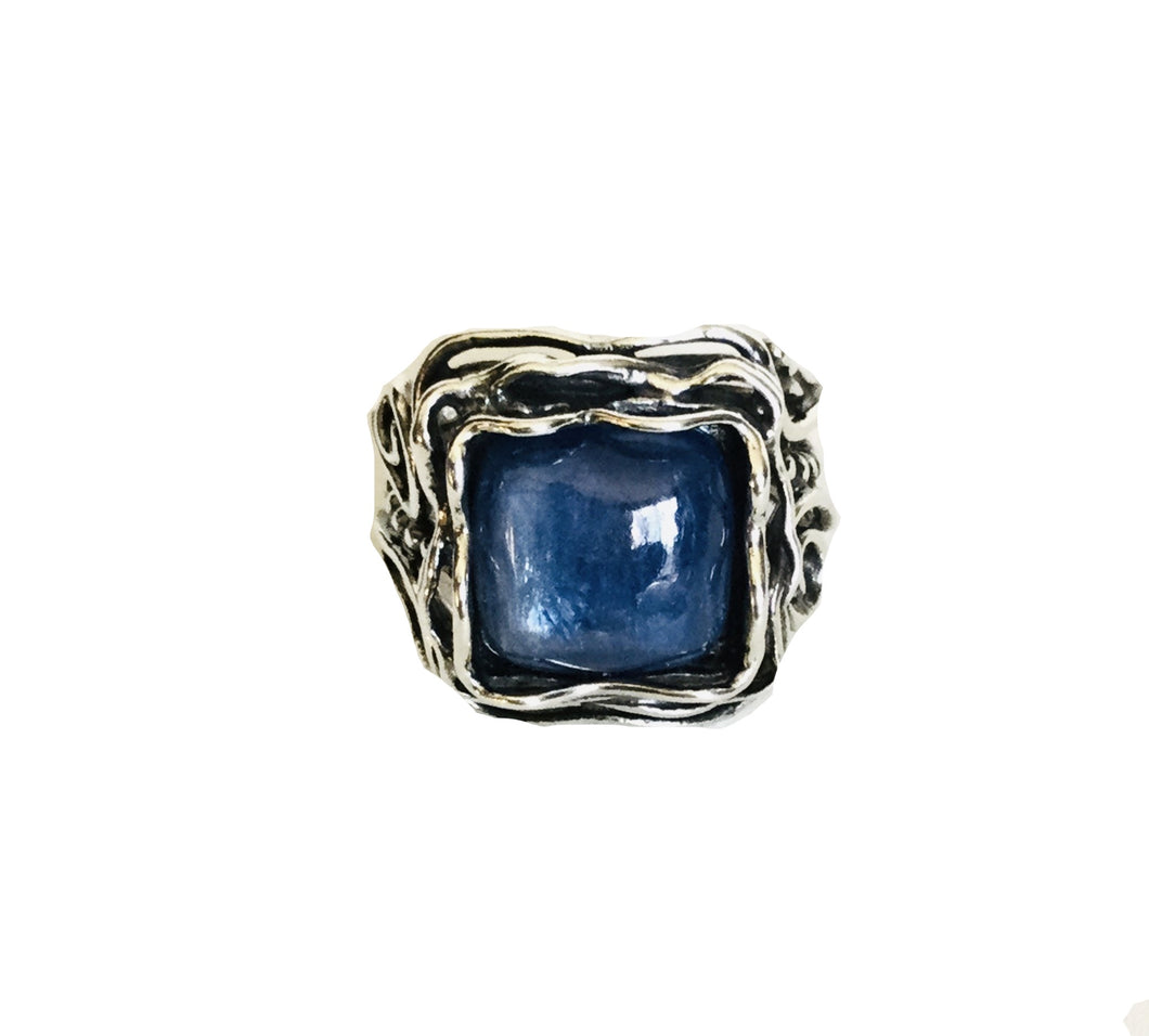 Sterling silver square Kyanite Ring