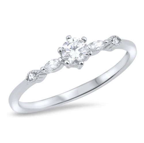 Round cut clear Cz with oval cut clear Cz silver Ring