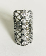 Ribbon cutout  /clear Cubic Zirconia Silver shield Ring