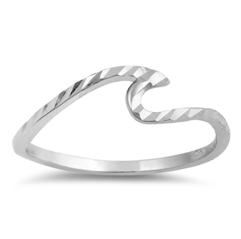 Diamond Cut wave Silver Ring