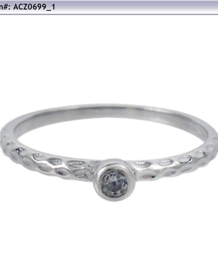 Hammered single cz stone Ring