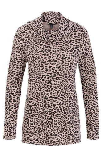 Leopard Print Cowl Neck Top