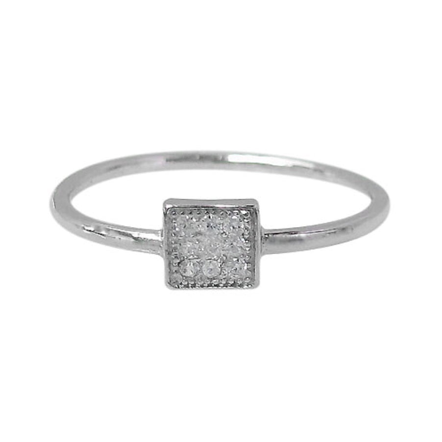 Square Cubic Zirconia Silver Ring