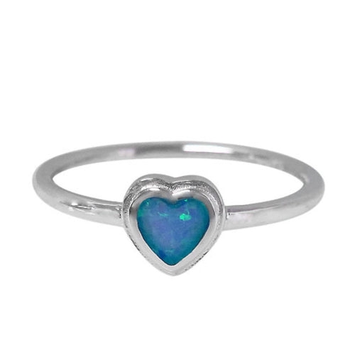 Small Opal Heart Ring