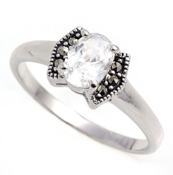 Oval Marcasite Clear Cz ring