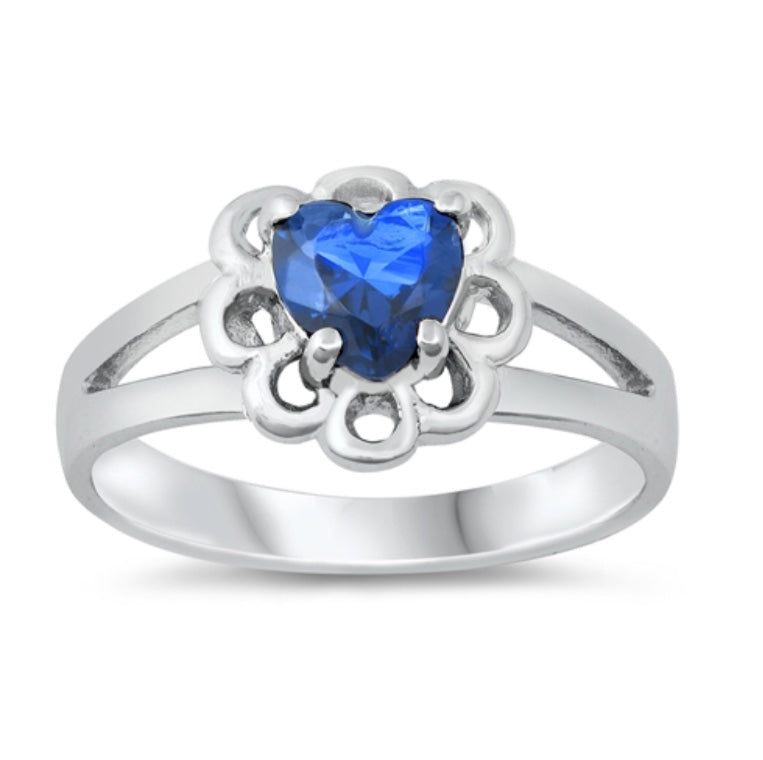 CZ Silver Baby Heart Ring