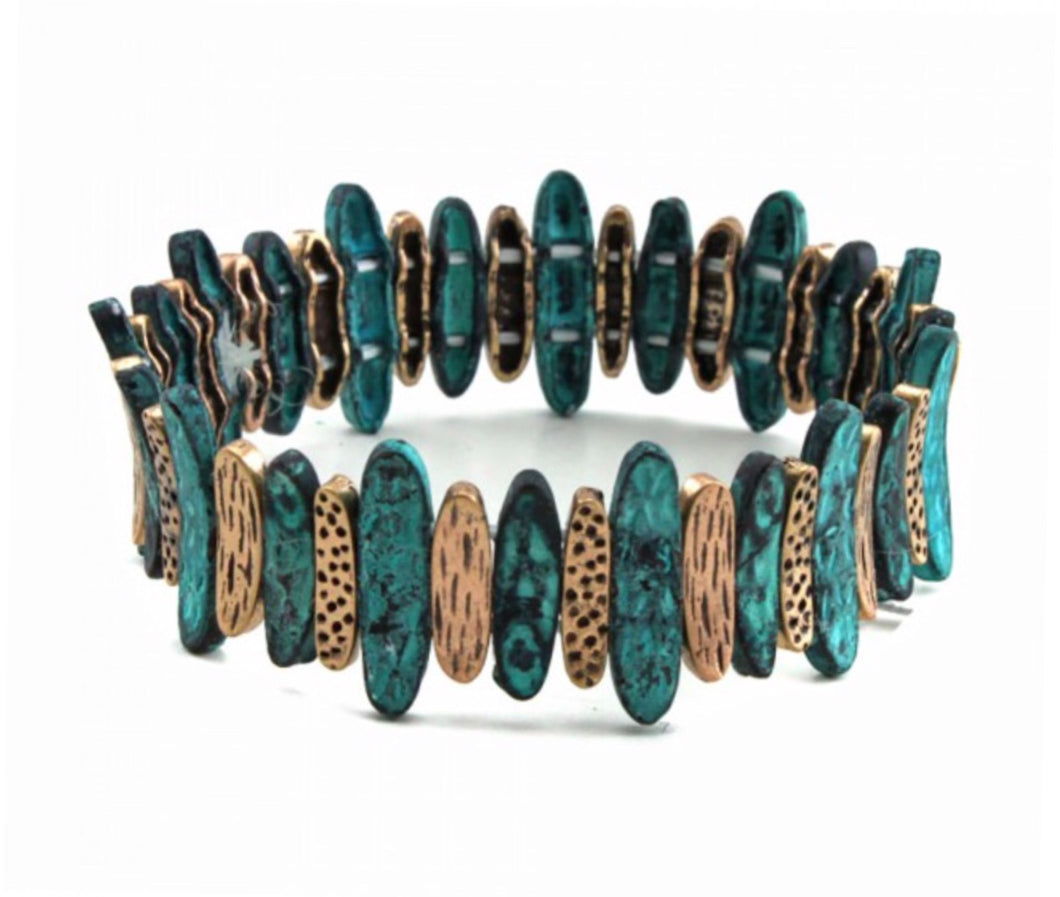 Animal Print Teal/Tan Bracelet