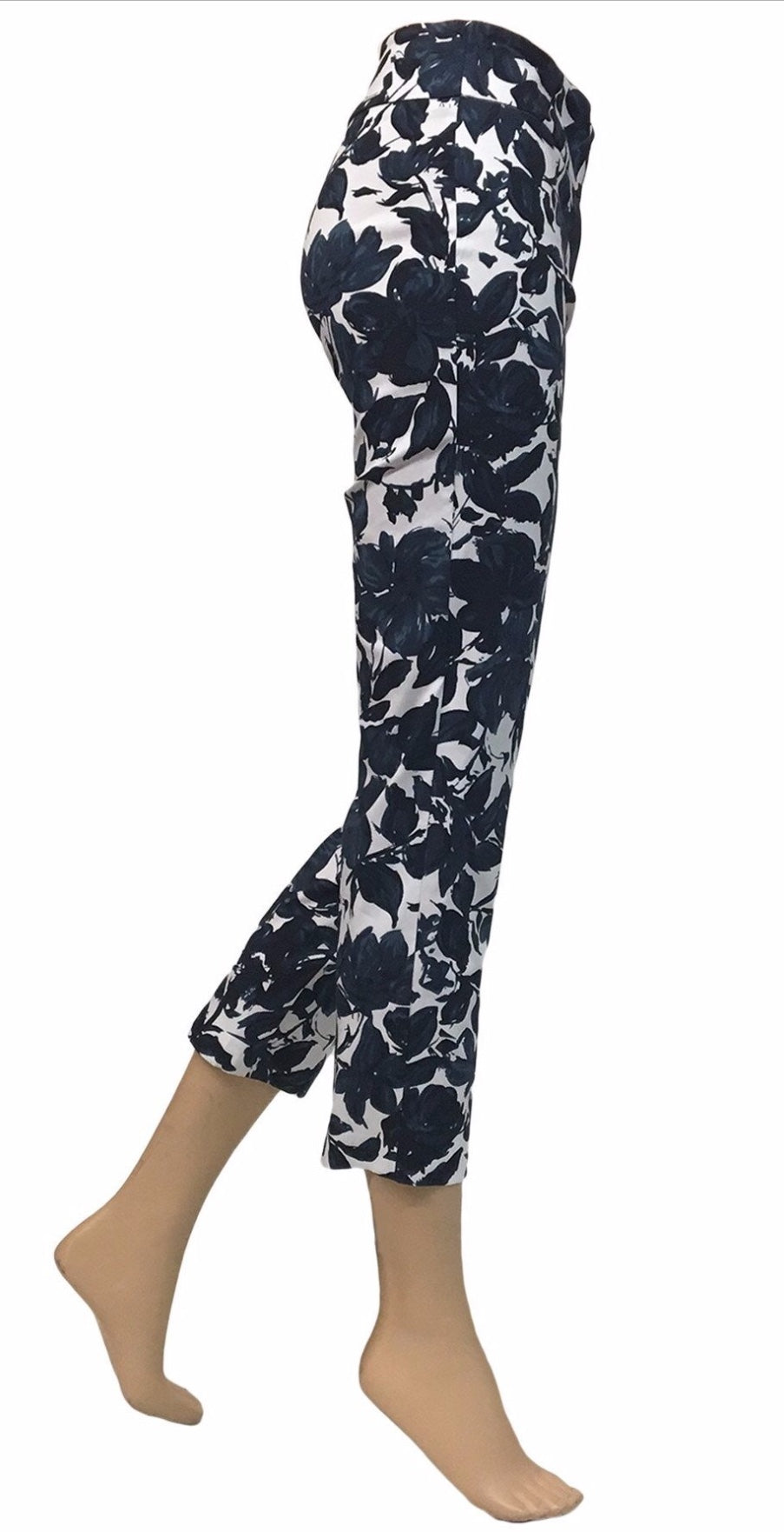 "Blues Floral 28"" length Up Pants"