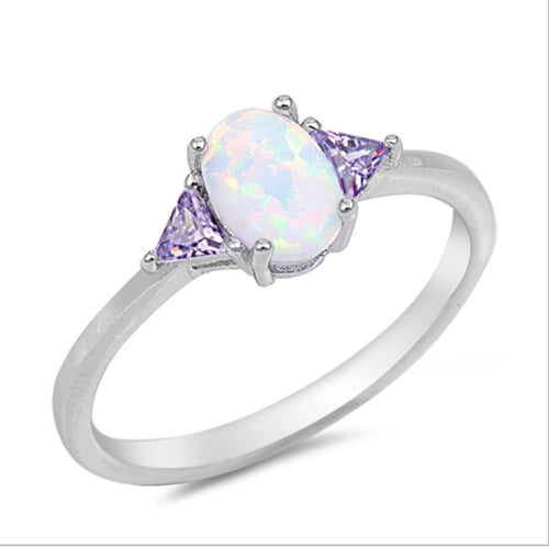 White Opal oval cut and triangle Clear cz Ring