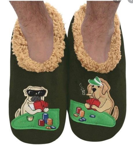 Poker Dogs Snoozie Slippers