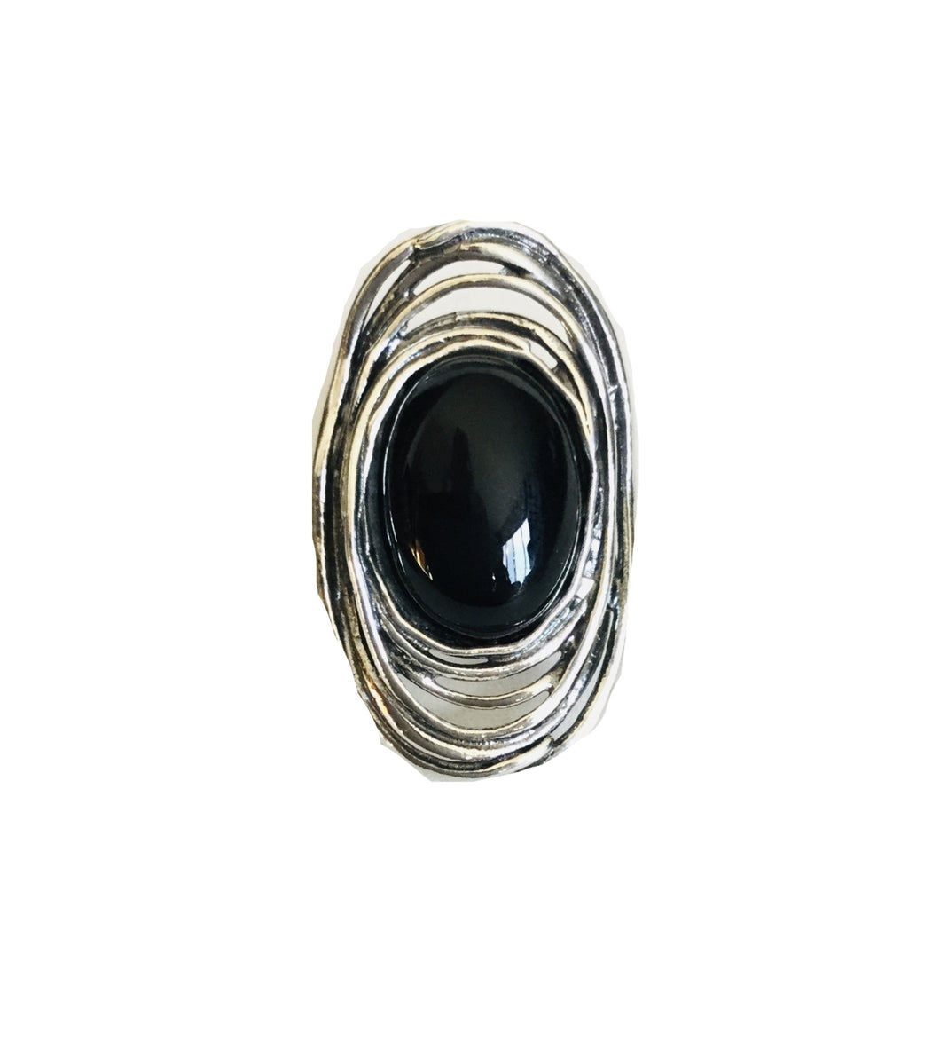 Sterling silver Oval Black onyx Ring.