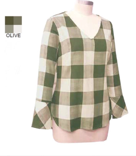 Fitted Large Plaid V-Neck Olive Top
