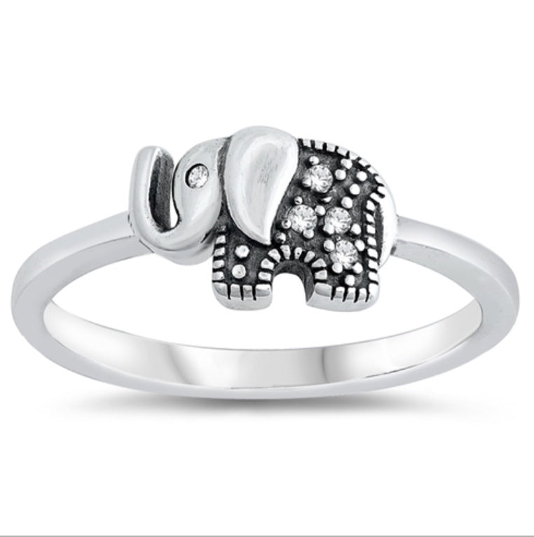 Single Elephant Cz Stones Silve  Ring