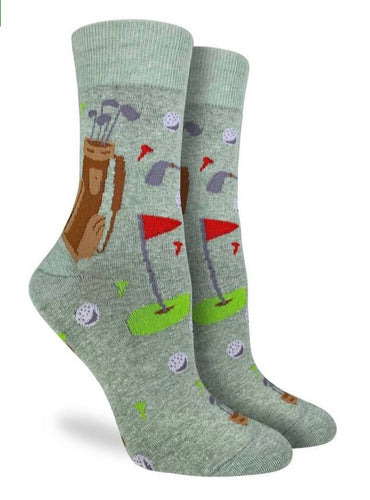 Women's Crew Golf Green Socks