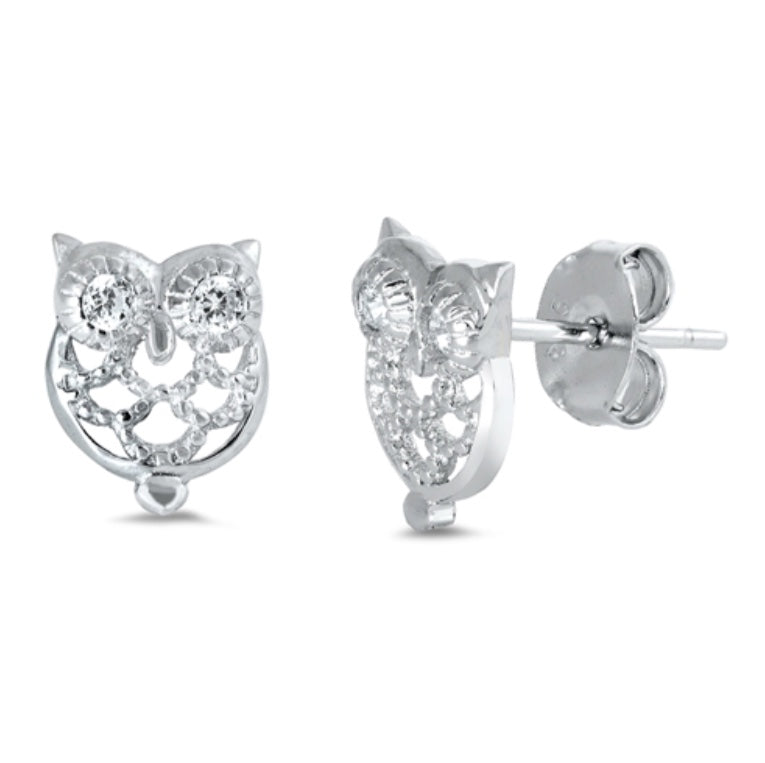 Cut out Cz Owl Stud Earrings