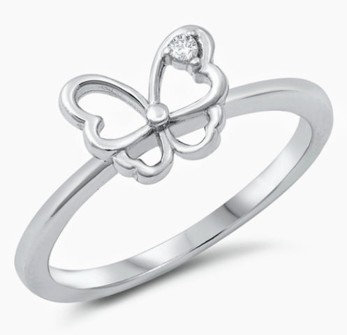 Silver Butterfly Ring/ single Clear Cz Stone