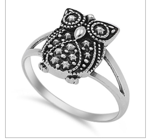 Oxidized Owl Ring