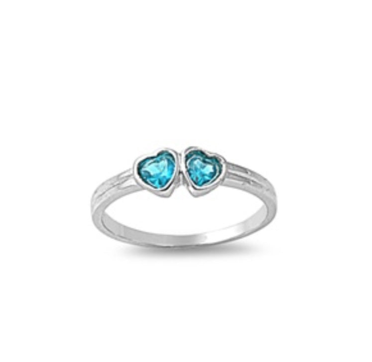 925 Sterling Double Heart Lab Birth Stone Ring
