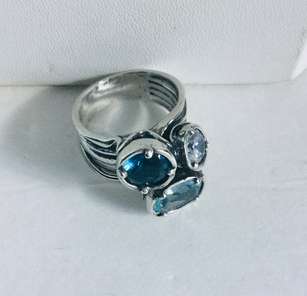 Tri-Color Aquamarine,Clear Crystal,Light Blue Topaz Ring