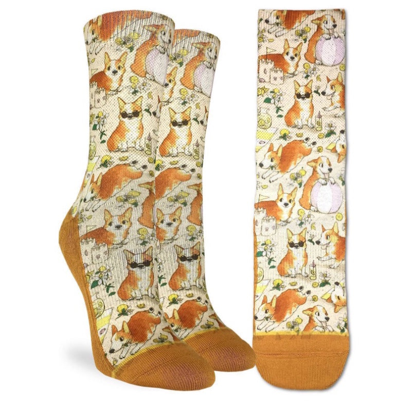 Women's Corgi on the Beach Active Fit Fun Sock