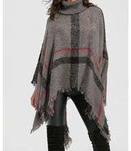 Large plaid fuzzy knit Poncho