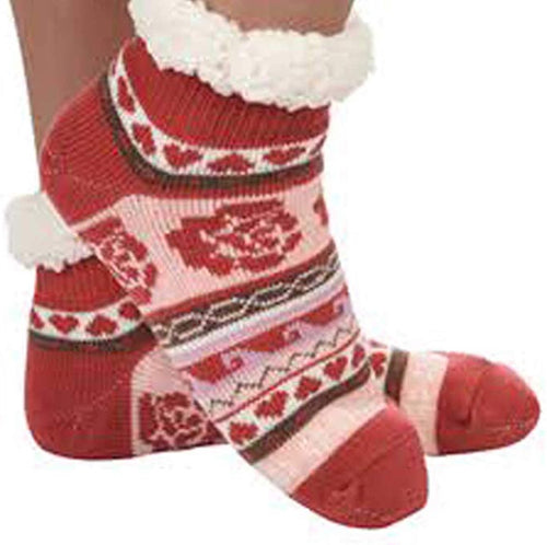 Rose Knit Sherpa Footie Snoozie Slipper